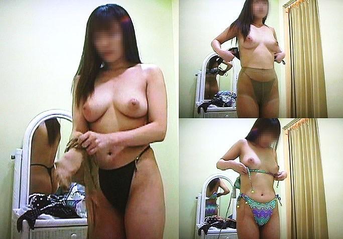 【素人試着室盗撮】隠しカメラに気付かず裸を晒してしまう素人娘たち 53