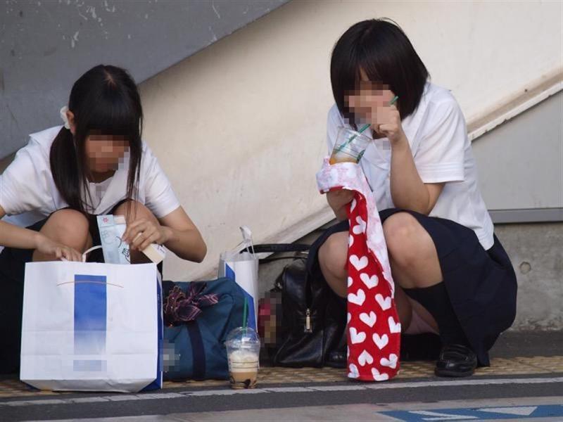 【素人JKパンチラエロ画像】風が吹いたり障害物を跨いだりして見えちゃった女子校生 56