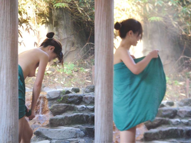 【素人温泉エロ画像】リラックスし過ぎて裸を撮られてしまった素人娘 15