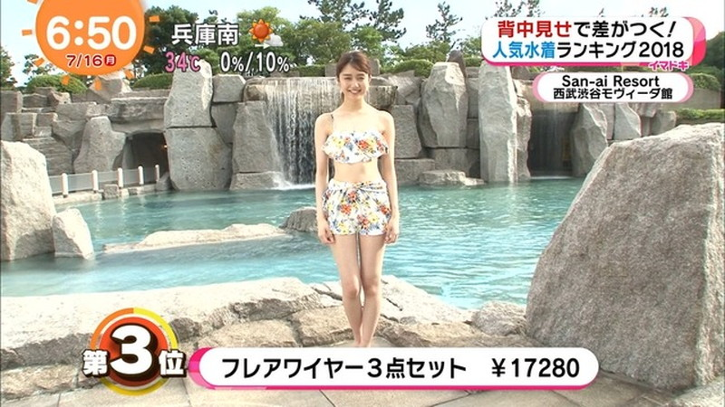 【松川菜々花キャプ画像】ファッションモデルが水着姿を地上波で披露する貴重シーン! 24