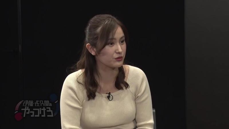 【池谷実悠キャプ画像】ハーフ系の顔立ちが綺麗な女子アナのニット越しオッパイ! 09