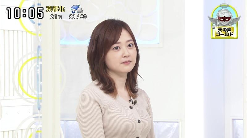 【水卜麻美キャプ画像】日テレ人気女子アナのニット越しオッパイと疑似フェラ! 12