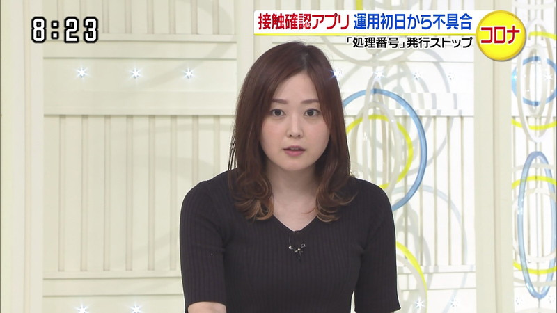 【水卜麻美キャプ画像】日テレ人気女子アナのニット越しオッパイと疑似フェラ! 17