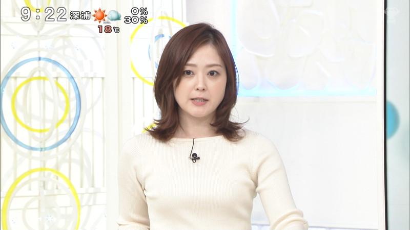 【水卜麻美キャプ画像】日テレ人気女子アナのニット越しオッパイと疑似フェラ! 75