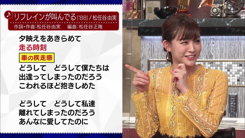 【新井恵理那キャプ画像】人気アラサー女子アナのニット越しおっぱい! 37