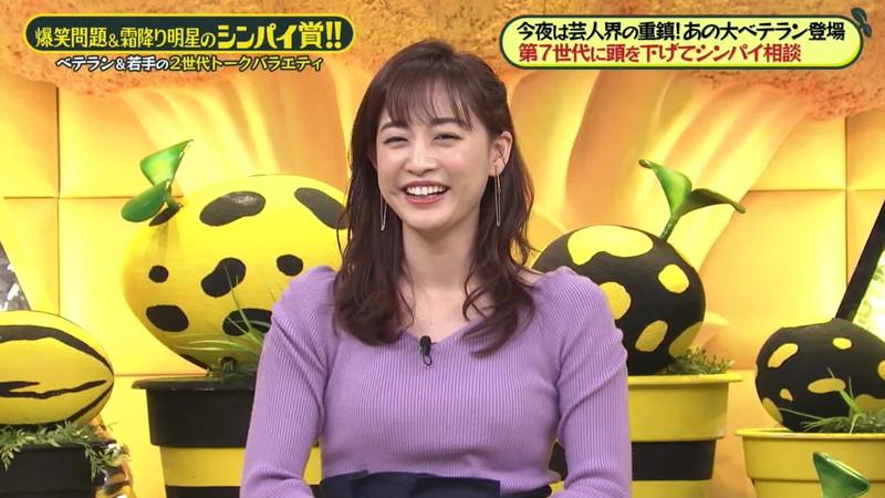 【新井恵理那キャプ画像】人気アラサー女子アナのニット越しおっぱい! 59