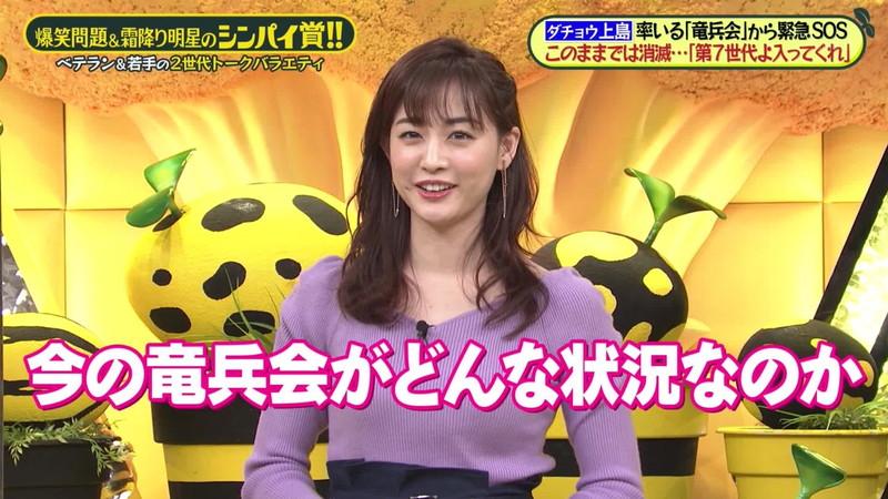 【新井恵理那キャプ画像】人気アラサー女子アナのニット越しおっぱい! 61