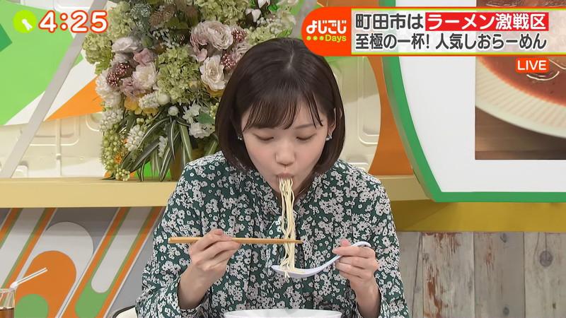 【田中瞳キャプ画像】ミスコン経験がある可愛い女子アナが大口開けて食レポwwww