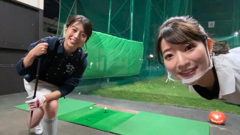【女子アナキャプ画像】ゴルフでスカートひらひらさせてパンチラ寸前!?