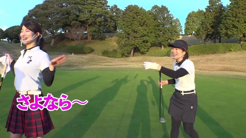 【女子アナキャプ画像】ゴルフでスカートひらひらさせてパンチラ寸前!? 90
