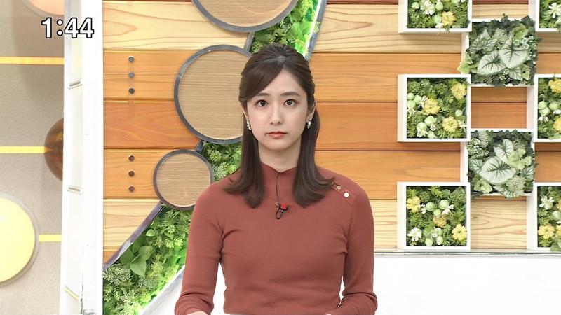 【田村真子キャプ画像】TBS女子アナウンサーのニット越しおっぱい!