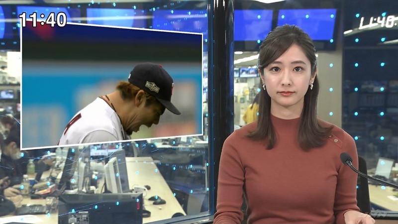 【田村真子キャプ画像】TBS女子アナウンサーのニット越しおっぱい! 07
