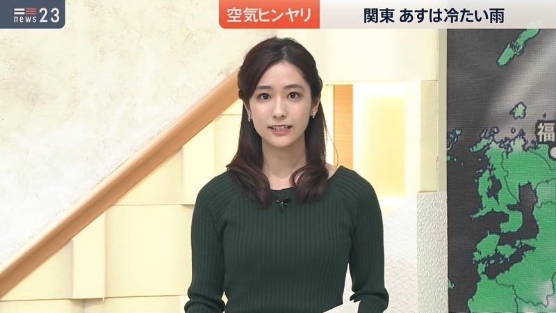 【田村真子キャプ画像】TBS女子アナウンサーのニット越しおっぱい! 13