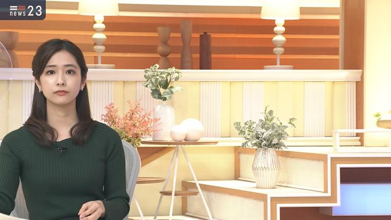 【田村真子キャプ画像】TBS女子アナウンサーのニット越しおっぱい! 15