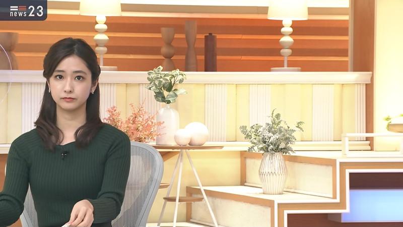 【田村真子キャプ画像】TBS女子アナウンサーのニット越しおっぱい! 16