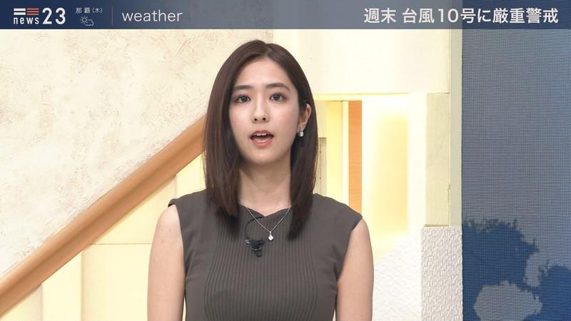 【田村真子キャプ画像】TBS女子アナウンサーのニット越しおっぱい! 38