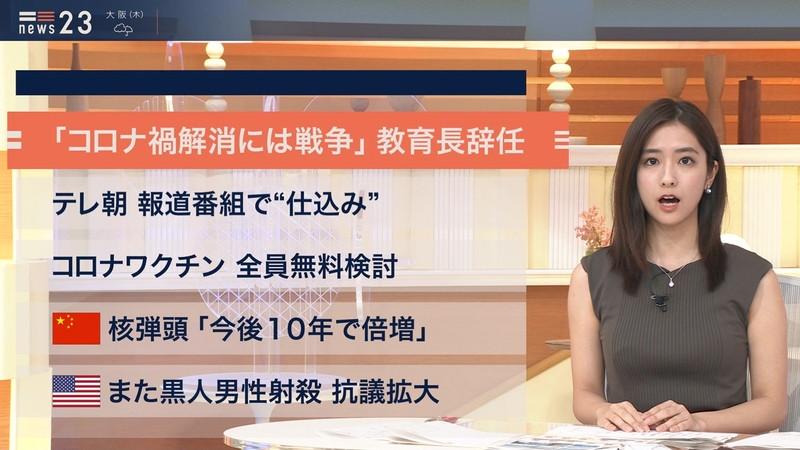 【田村真子キャプ画像】TBS女子アナウンサーのニット越しおっぱい! 48