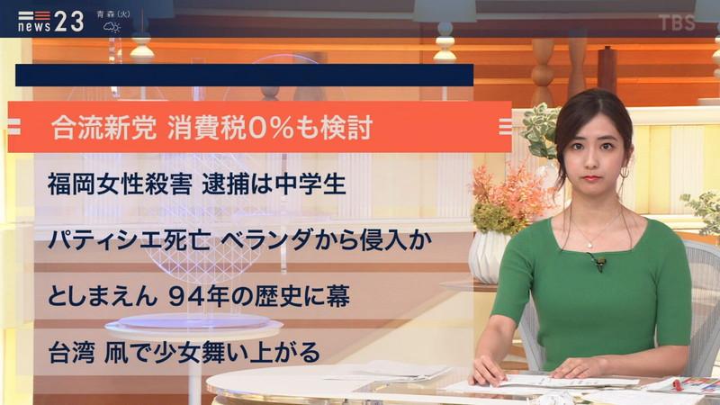 【田村真子キャプ画像】TBS女子アナウンサーのニット越しおっぱい! 55