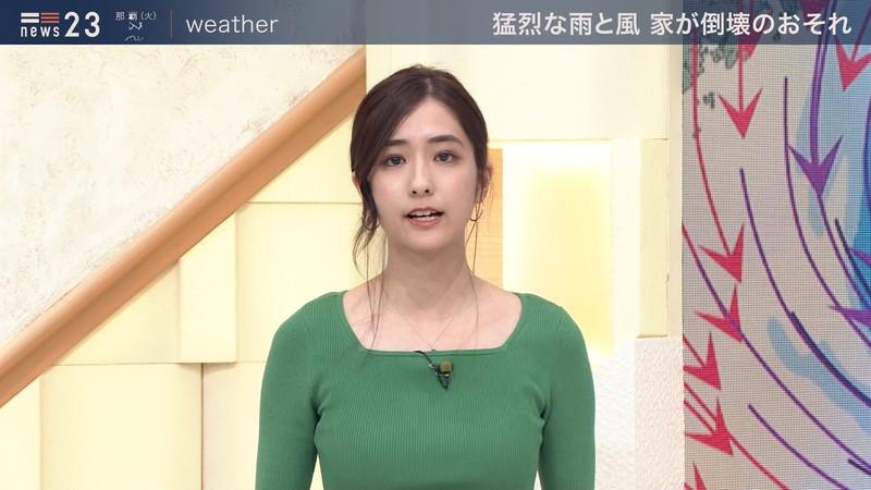 【田村真子キャプ画像】TBS女子アナウンサーのニット越しおっぱい! 56