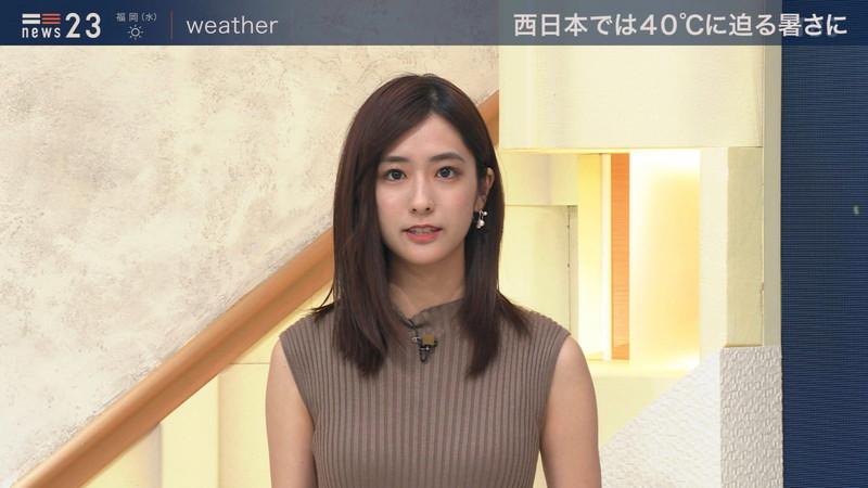 【田村真子キャプ画像】TBS女子アナウンサーのニット越しおっぱい! 73