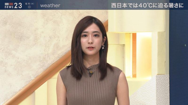 【田村真子キャプ画像】TBS女子アナウンサーのニット越しおっぱい! 74