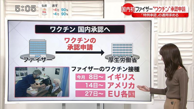 【女子アナキャプ画像】中島芽生さんのニット越しおっぱいや二の腕! 05