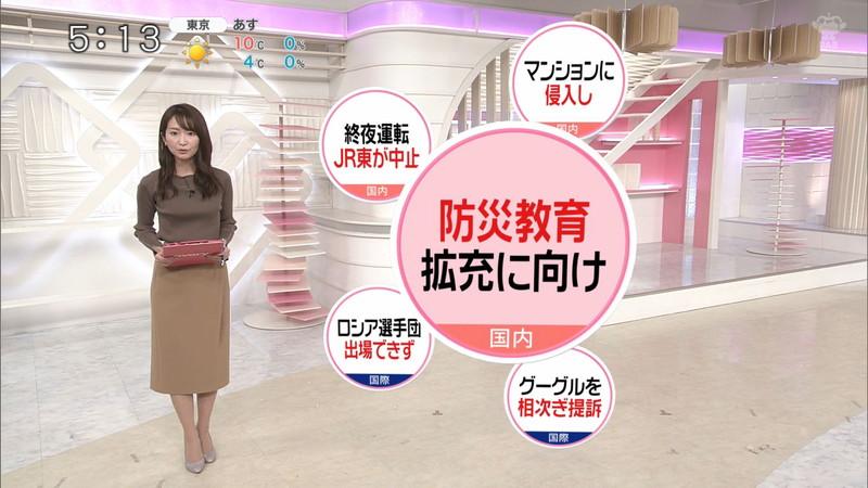 【女子アナキャプ画像】中島芽生さんのニット越しおっぱいや二の腕! 07
