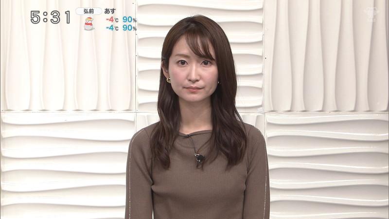 【女子アナキャプ画像】中島芽生さんのニット越しおっぱいや二の腕! 08