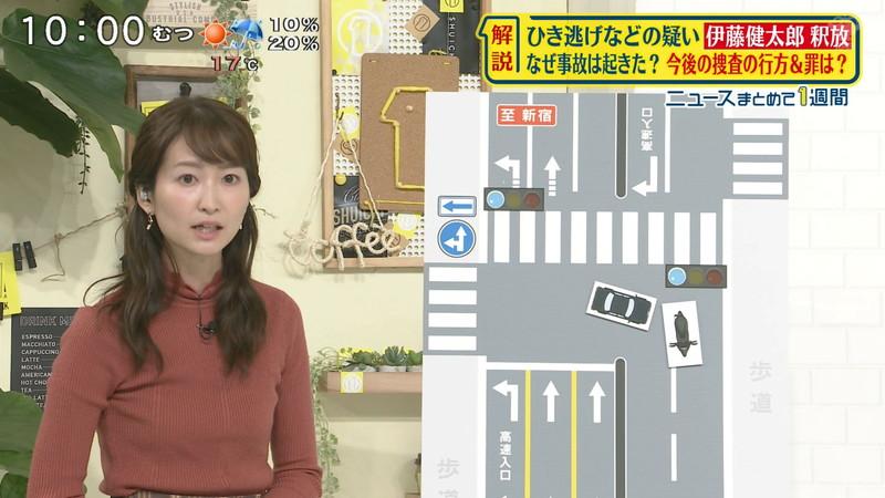 【女子アナキャプ画像】中島芽生さんのニット越しおっぱいや二の腕! 11
