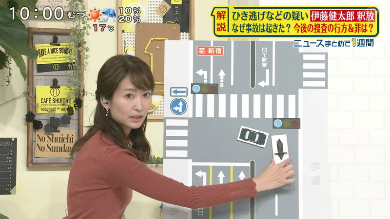 【女子アナキャプ画像】中島芽生さんのニット越しおっぱいや二の腕! 12