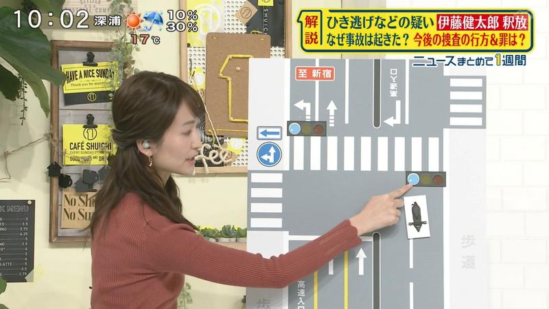 【女子アナキャプ画像】中島芽生さんのニット越しおっぱいや二の腕! 13
