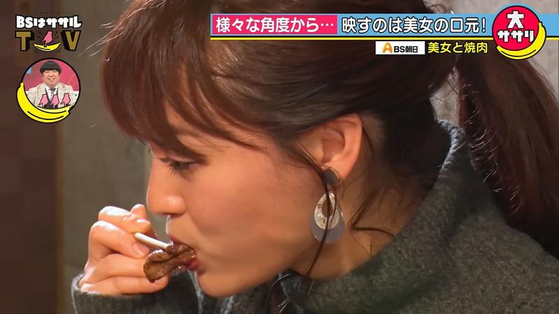 【女子アナキャプ画像】インコ大好きフリーアナウンサーの食レポとチラリw