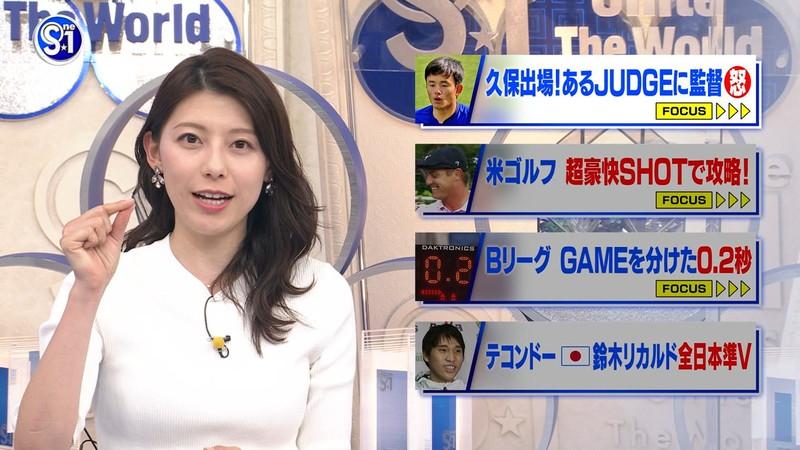 【上村彩子キャプ画像】スケスケシースルーを見せつけるエロ女子アナwwww 59