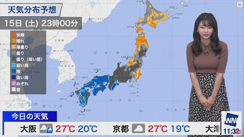 【女子アナキャプ画像】お天気お姉さんのニットおっぱい! 81