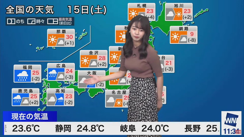 【女子アナキャプ画像】お天気お姉さんのニットおっぱい! 82