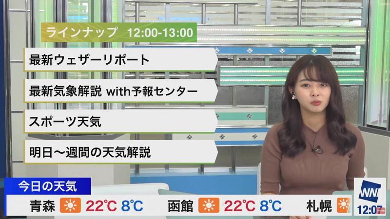 【女子アナキャプ画像】お天気お姉さんのニットおっぱい! 84