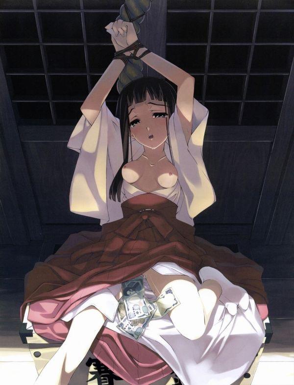 【巫女二次元画像】可愛くてエッチな美少女キャラクターが巫女に扮したエロ画像 22