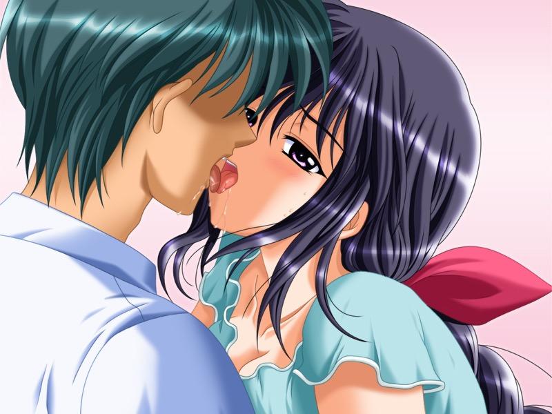 【キスの日二次エロ画像】美少女たちが涎を垂らしながら濃厚なキスで蕩けちゃうセックス画像 40