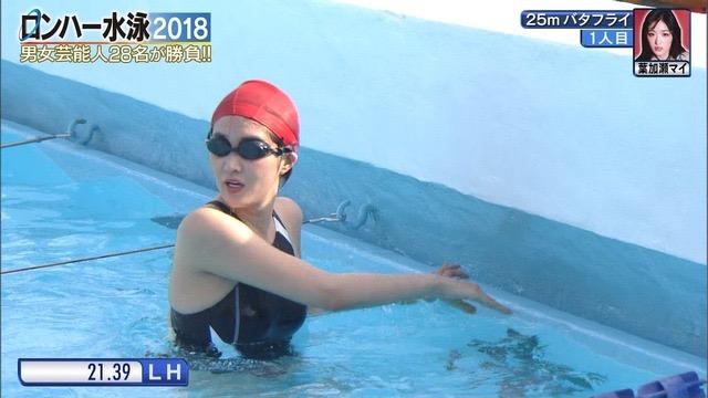 【お宝キャプ画像】女性タレントがロンドンハーツ水泳大会で競泳水着でハイレグ大開脚しちゃったwwww 05