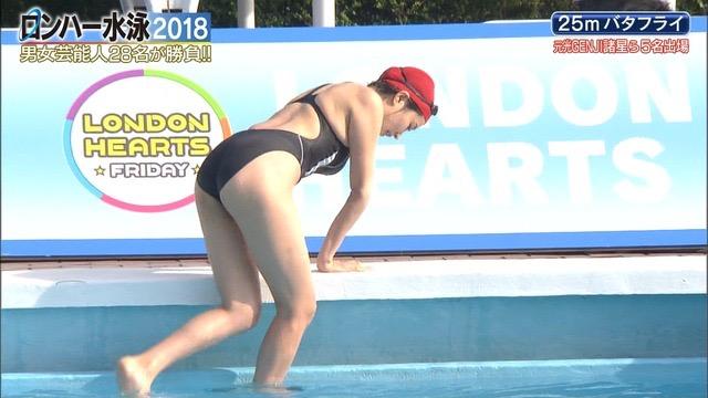 【お宝キャプ画像】女性タレントがロンドンハーツ水泳大会で競泳水着でハイレグ大開脚しちゃったwwww 06