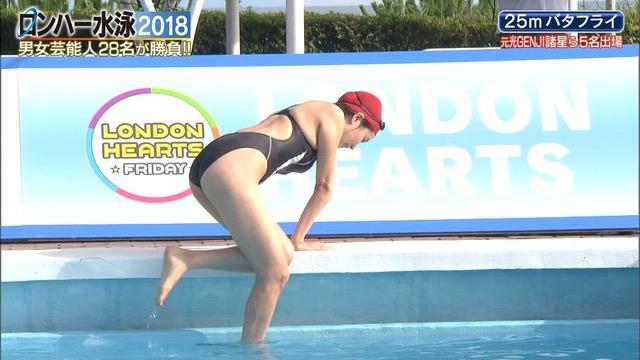 【お宝キャプ画像】女性タレントがロンドンハーツ水泳大会で競泳水着でハイレグ大開脚しちゃったwwww 07