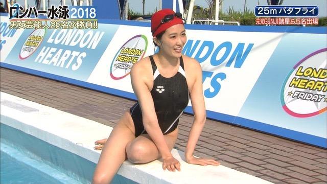 【お宝キャプ画像】女性タレントがロンドンハーツ水泳大会で競泳水着でハイレグ大開脚しちゃったwwww 08