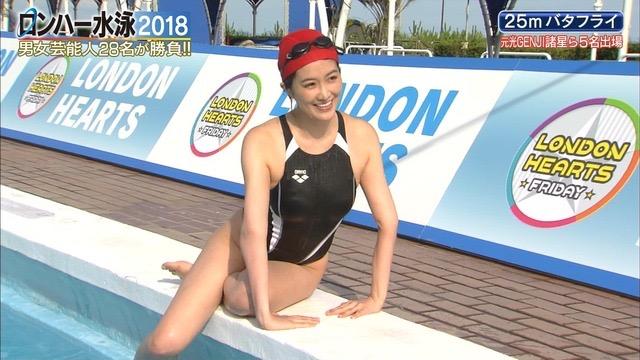 【お宝キャプ画像】女性タレントがロンドンハーツ水泳大会で競泳水着でハイレグ大開脚しちゃったwwww 10