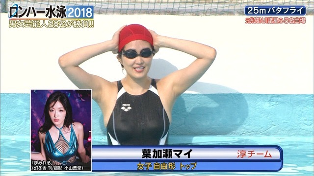 【お宝キャプ画像】女性タレントがロンドンハーツ水泳大会で競泳水着でハイレグ大開脚しちゃったwwww 12