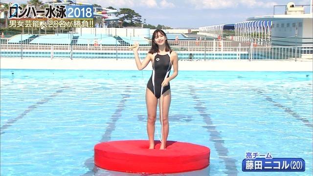 【お宝キャプ画像】女性タレントがロンドンハーツ水泳大会で競泳水着でハイレグ大開脚しちゃったwwww 13