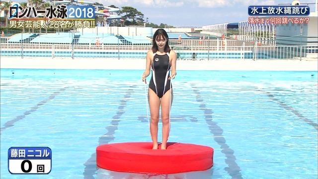 【お宝キャプ画像】女性タレントがロンドンハーツ水泳大会で競泳水着でハイレグ大開脚しちゃったwwww 17