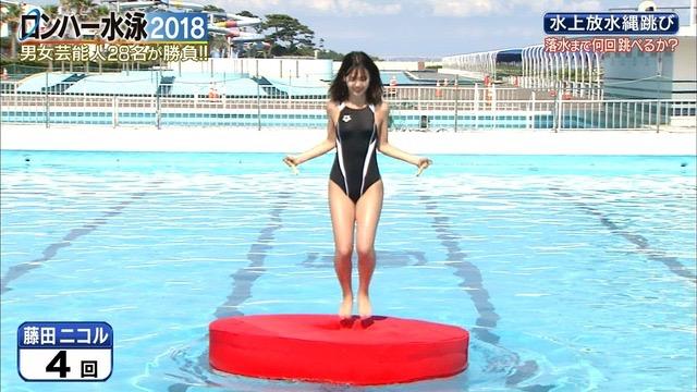 【お宝キャプ画像】女性タレントがロンドンハーツ水泳大会で競泳水着でハイレグ大開脚しちゃったwwww 18