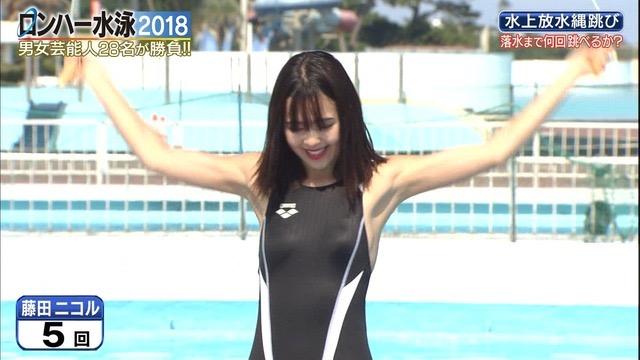 【お宝キャプ画像】女性タレントがロンドンハーツ水泳大会で競泳水着でハイレグ大開脚しちゃったwwww 21