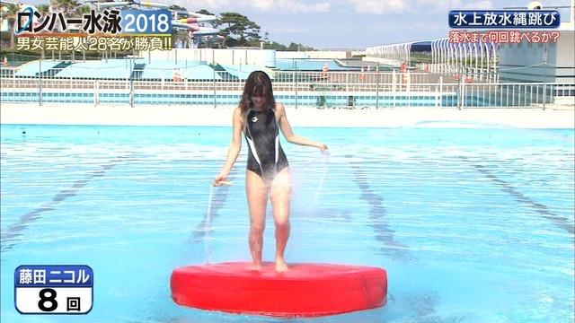 【お宝キャプ画像】女性タレントがロンドンハーツ水泳大会で競泳水着でハイレグ大開脚しちゃったwwww 22