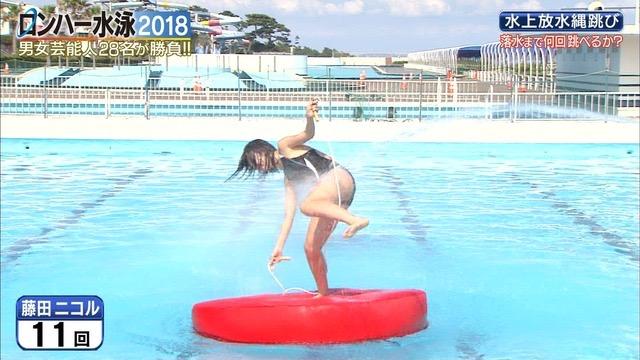 【お宝キャプ画像】女性タレントがロンドンハーツ水泳大会で競泳水着でハイレグ大開脚しちゃったwwww 25